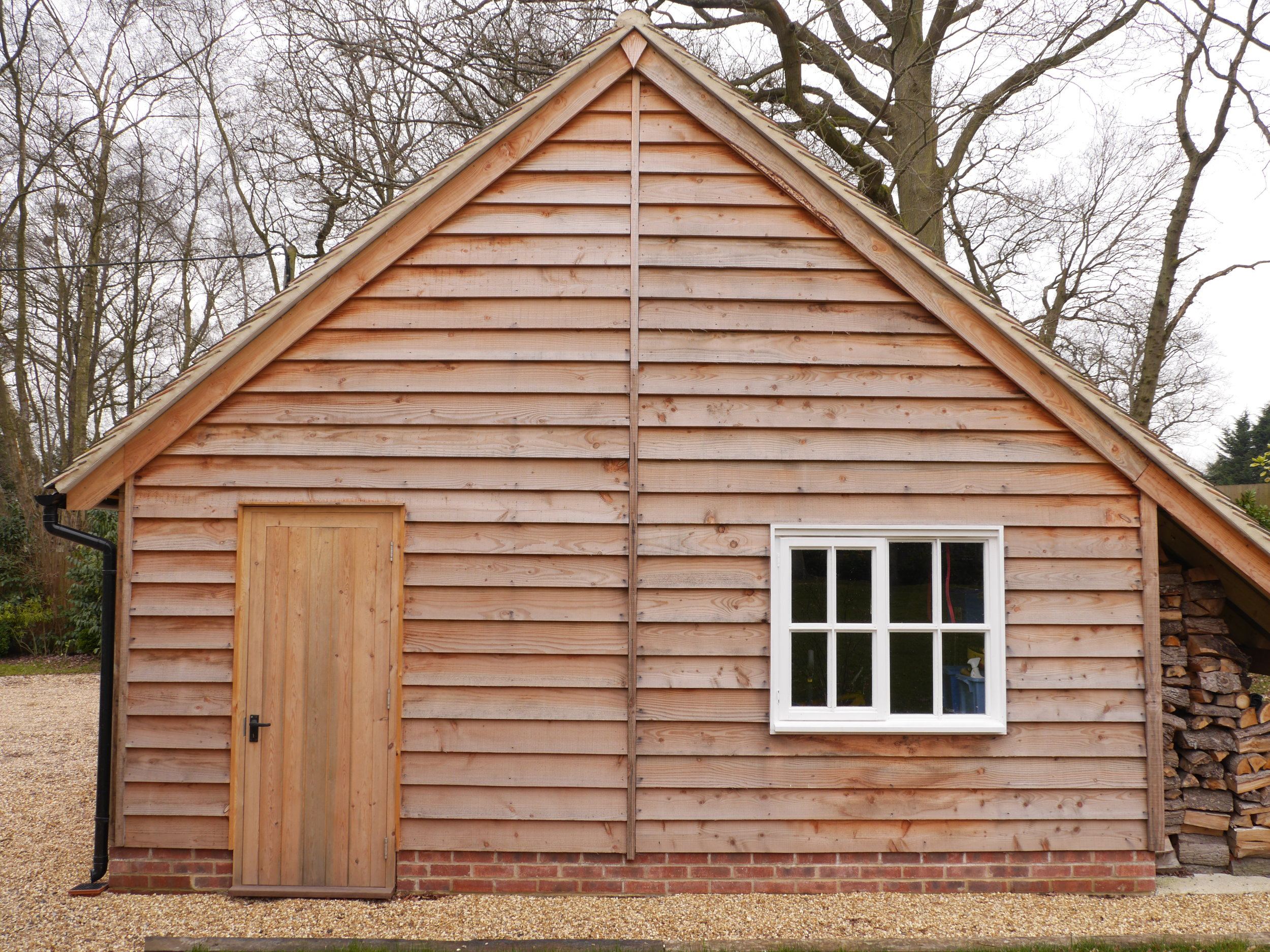 oak framed garage gable end