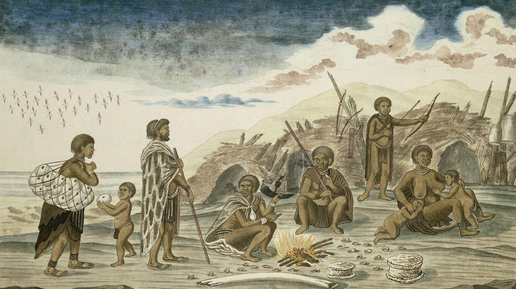 Strandlopers and their shelters on the beach - Robert Jacob Gordon