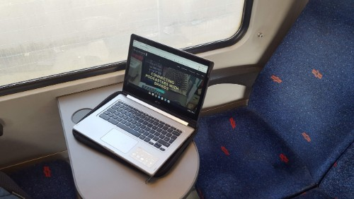 Working on my Chromebook on the train - #myotheroffice