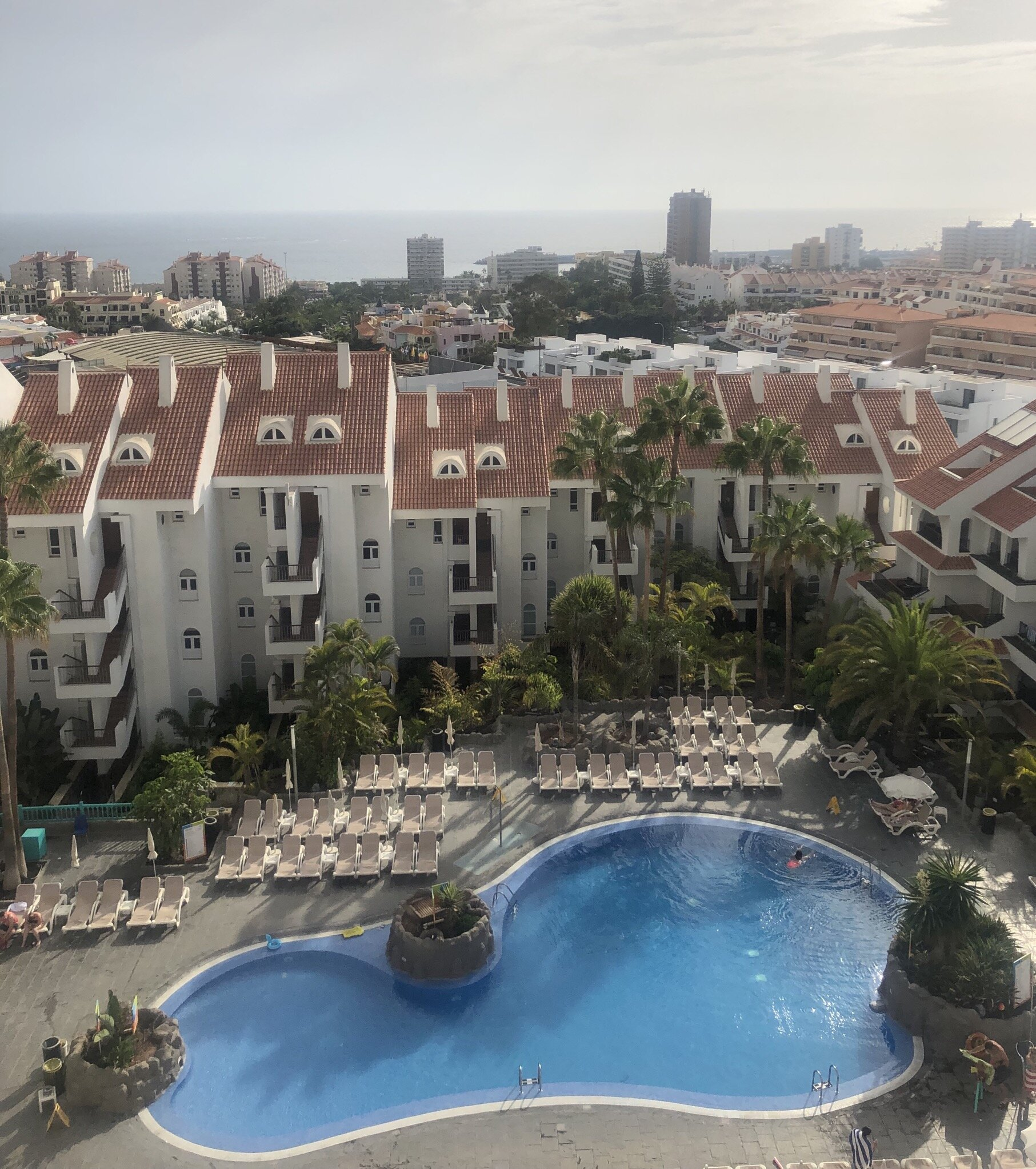 The view from my balcony. The only exercise I did on my holiday was head tennis in this swimming pool…