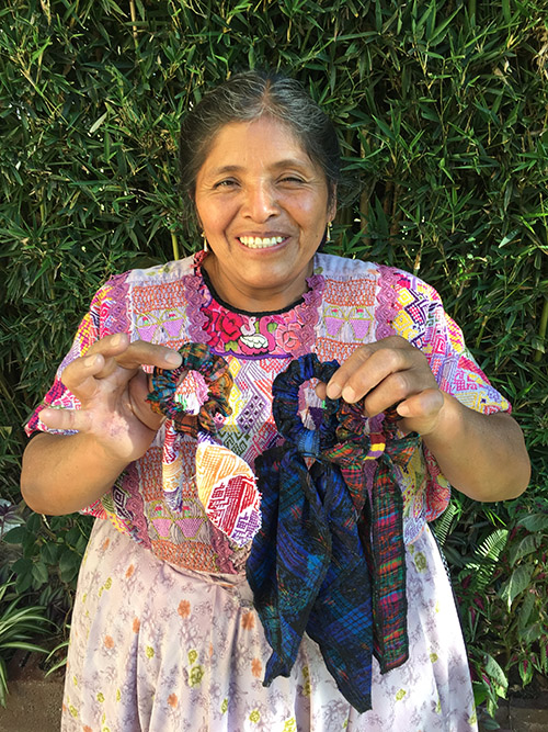 Blanca Mendez - Quetzaltenango - Friendship Bridge client for 10 loan cycles.Blanca is so happy to be part of the Artisan Program and has learned a great deal in the monthly meetings of her Trust Bank. She has made the colourful scrunchies in our collection.