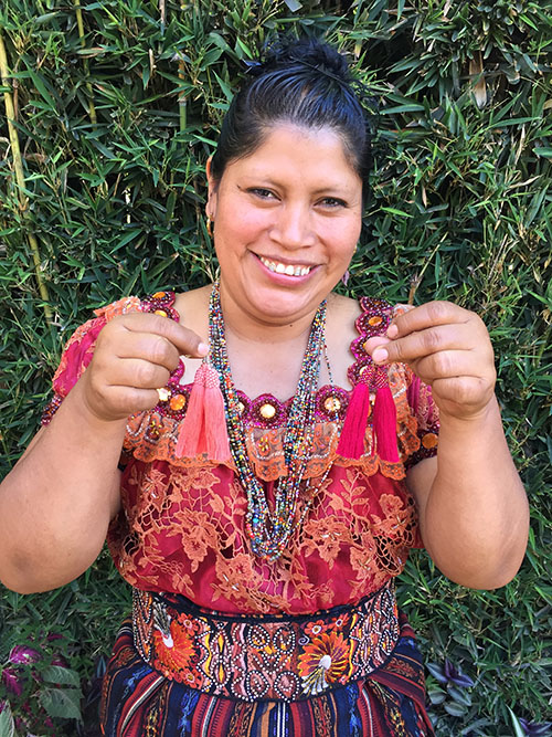 Olga Tunay - Solola - Friendship Bridge's client for 14 loan cycles.With her tremendous talent and energy, Olga, along with 26 employees, creates unique and enticing jewelry and handicrafts.