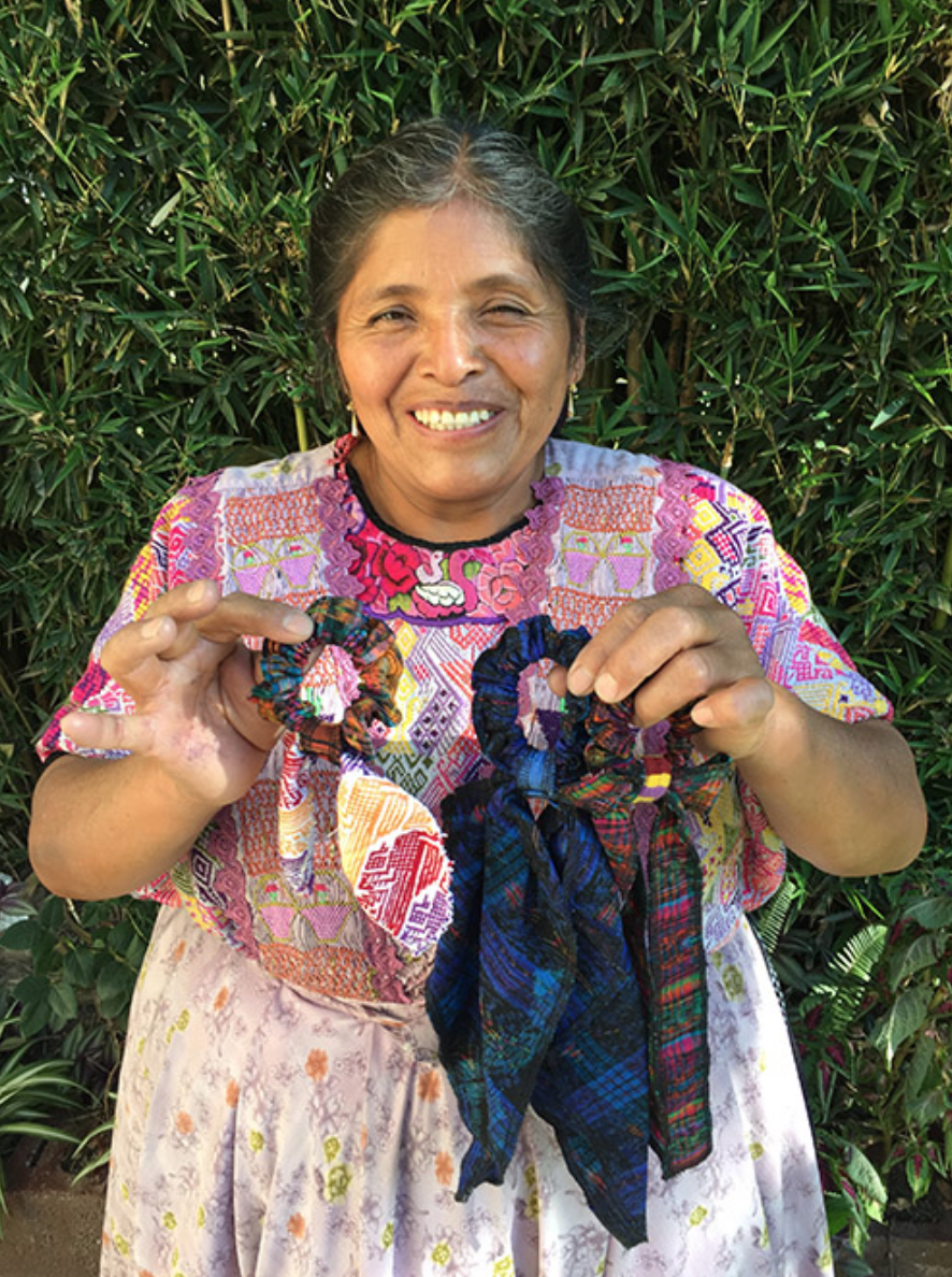 Blanca Mendez - Quetzaltenango - Friendship Bridge's client for 11 loan cycles.Blanca, whose dedication and passion for her work are undeniable, is so happy to be part of our Artisan Program. She has learned a great deal in her monthly Trust Bank meetings which she eagerly applies to developing her products. She has contributed these colorful and bright scrunchies to our collection.