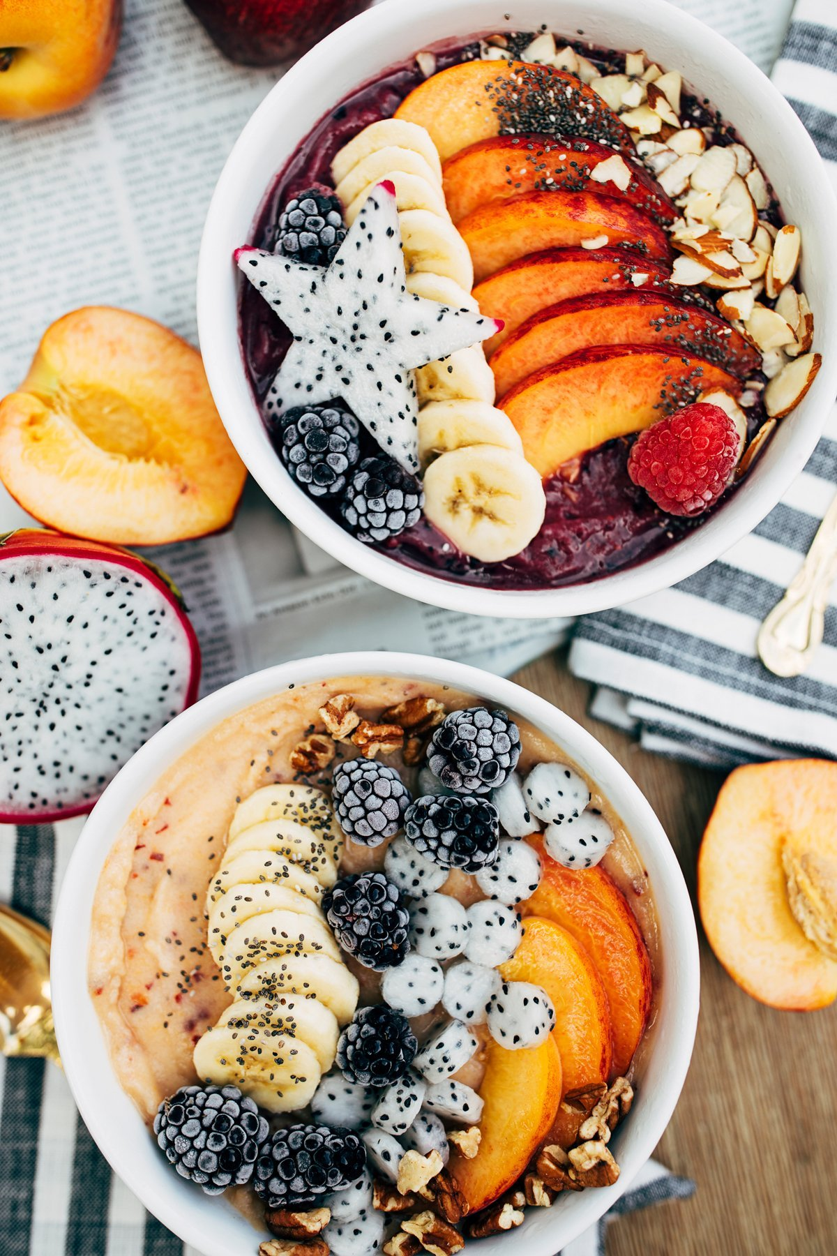 Peach & Blackberry Smoothie Bowls