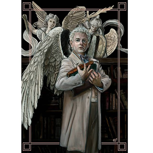 'Aziraphale'  Sorry i dissapeared guys. I was mega busy with my first convention.  Anyway lets upload some art. Starting with my aziraphale piece.  I also have a crowley piece and recommend checking my profile i see it if your a good omens fan. . . . #goodomens #aziraphale #angel #wings #books #neilgaiman #terryprattchet #michaelsheen #art #artist #artistsoninstagram #cheriebryant #painting #lineart #digitalart #photoshop