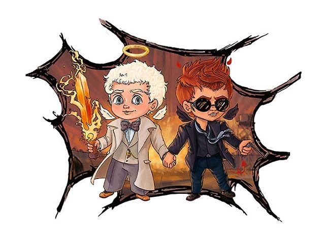 Another sticker design. In the book theres a scene where they hold hands and its pretty cute. Granted they are interupted by shadwell but still. . . . #goodomens #aziraphale #crowley #angel #demon #wings #halo #horns #flamingsword #tireiron #art #artist #artistsoninstagram #cheriebryant #chibi #digitalart #photoshop