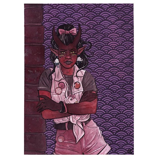 This piece currently doesnt have a title. If you have any suggestions i'd love to here them. Its the 1st in a series of 4  #oni #demon #red # pink # ink # gouache #traditionalart #art #artist #artistsoninstagram #cheriebryant #origamipaper