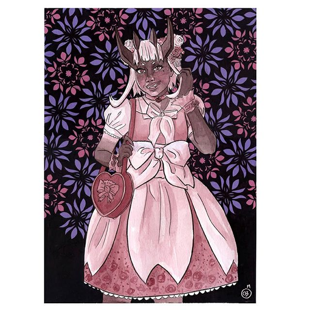 An ink and gouache piece. Again this one doesn't have a title and I am looking for suggestions.  Hope you guys like her.  #art #artist #artistsoninstagram #cheriebryant #ink #gouache #Demon #oni #lolita #onigirl #pink #flowers