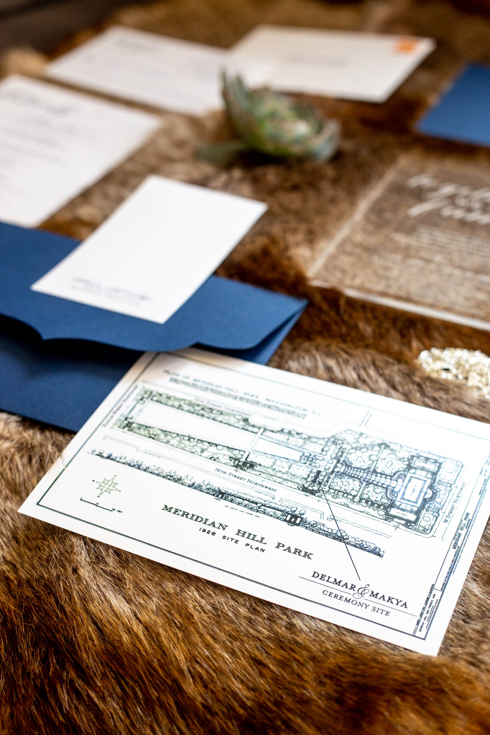 Acrylic Wedding Invitation Suite featuring enclosure of vintage Meridian Hill Park Map