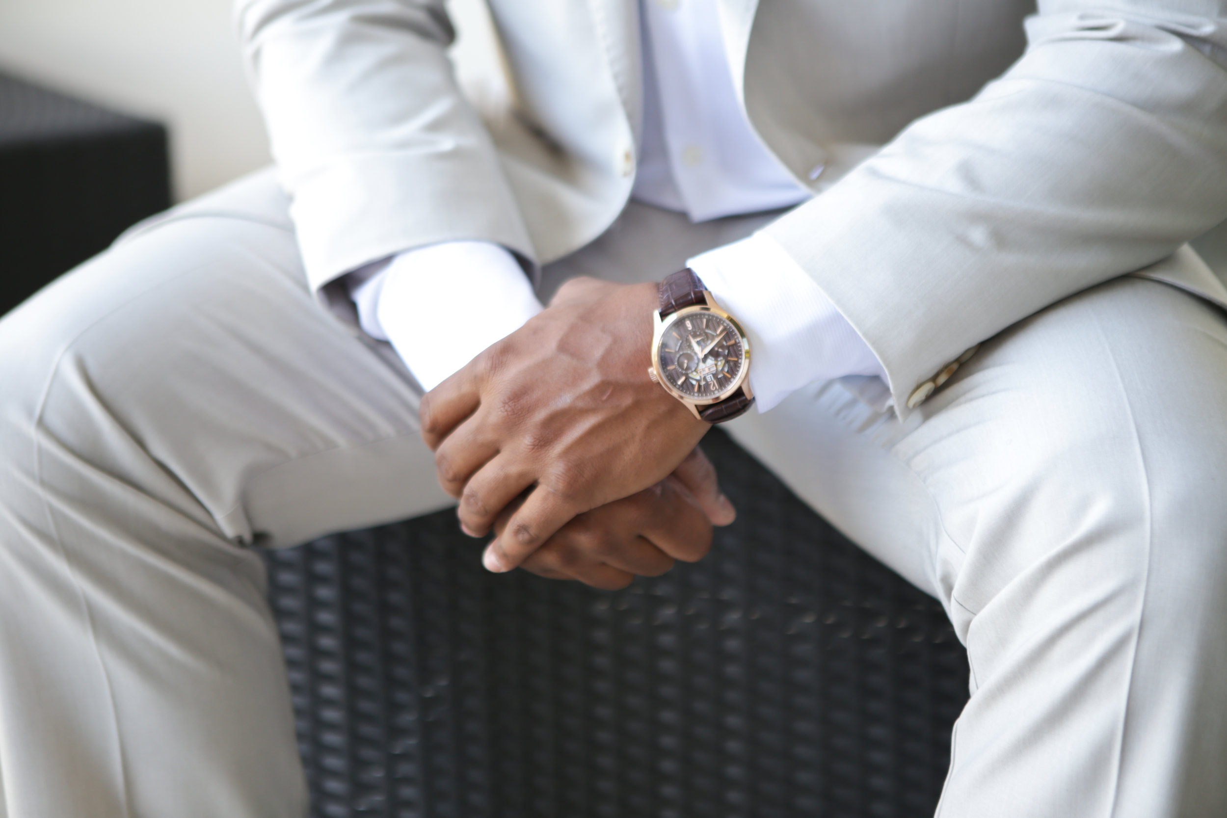 Jackson Wedding, Groom with his watch