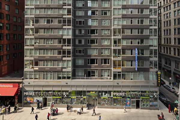 88 Leonard Facade with Sidewalk and Pedestrians