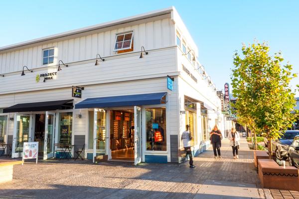 Fourth Street Berkeley Storefronts with Sidewalk and Pedestrians