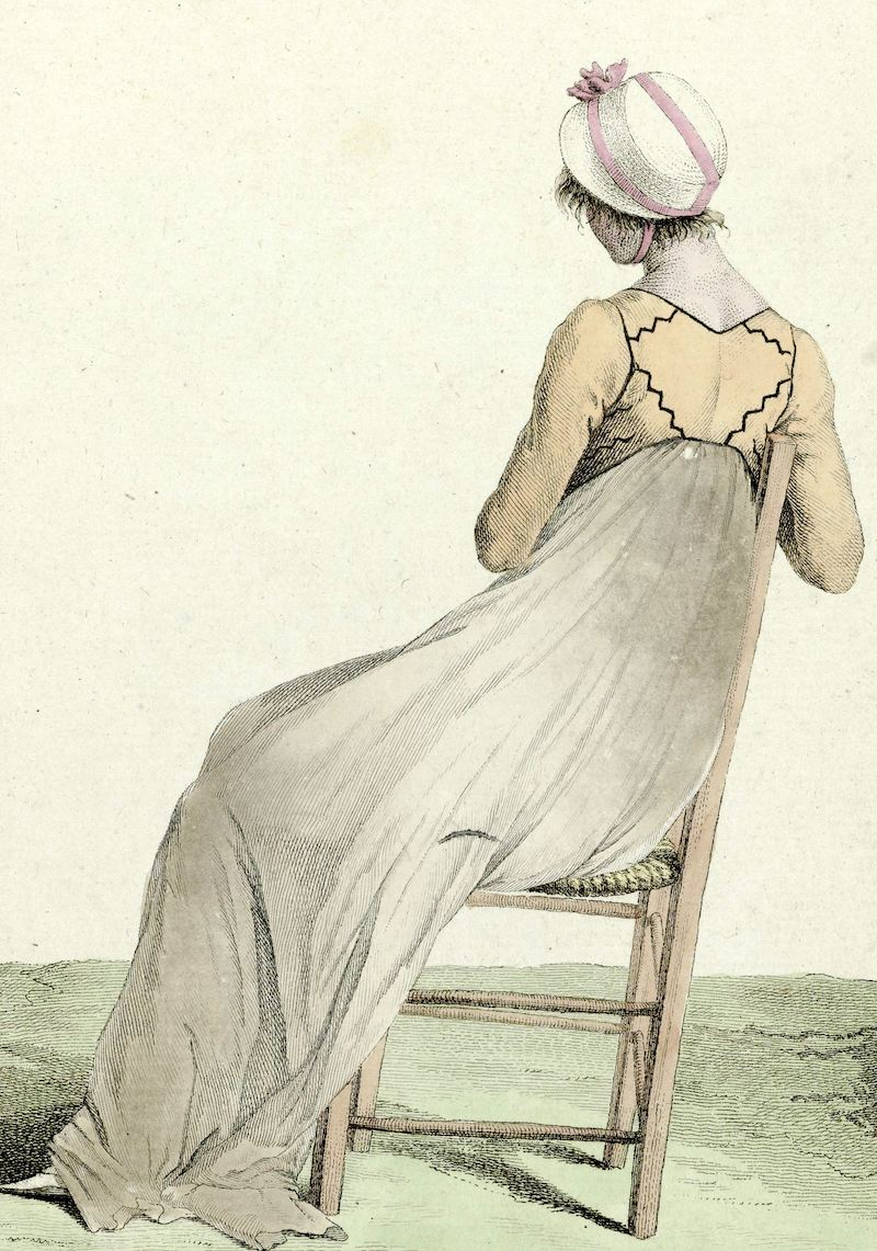 Image:  Journal des Dames et des Modes, Costume Parisien, 1799, An 7 (132) : Chapeau de Paill (...), anonymous, 1799 , Rijksmuseum. Used with permission.