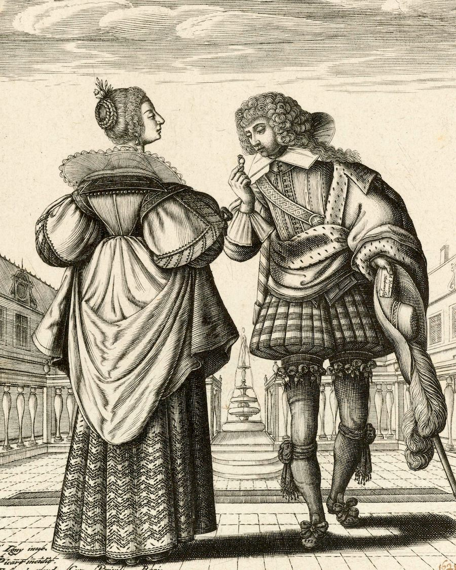 Image:  Couple Wearing the Latest French Fashion,  Jean Picart, after Jean de Saint-Igny, 1628, Rijksmuseum. Used with permission.
