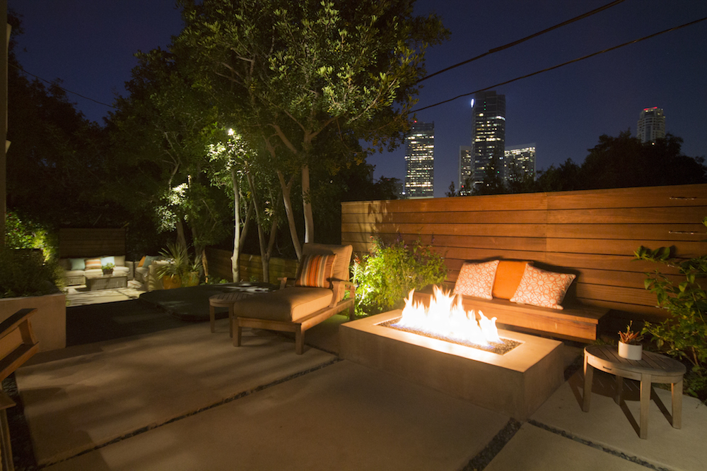 Maximizing Space - WestwoodBBQHot TubFire tableOutdoor living roomOutdoor dining