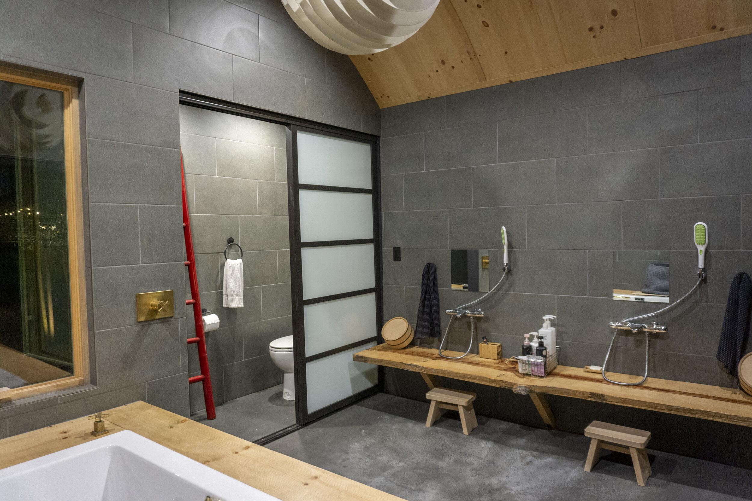 Asian Inspired Bath House - SpaScrub stationsrestroom