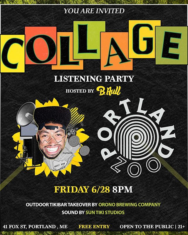 Put in the work so it's time for some play. With the EP dropping Thursday, I figured why not throw a party?🎉 Friday night at @theportlandzoo we'll be hanging out and playing the EP🎶 @OronoBrewingCompany will be pouring the brews🍻 and I will be getting drunk lol. Hope to see a Collage of people there✌🏽🌻 Flyer by @GarrettClare