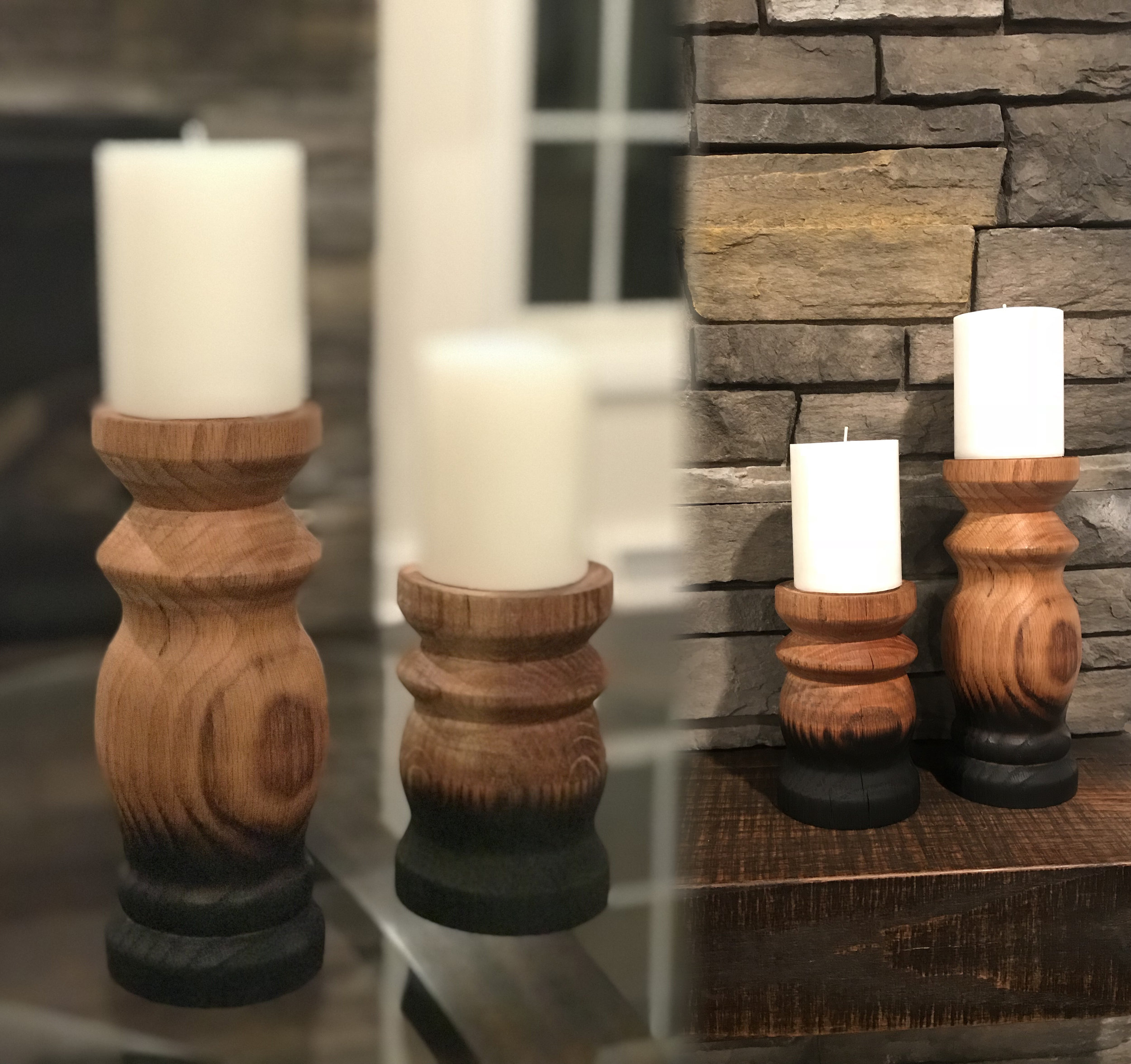 Red Oak Candle Holders
