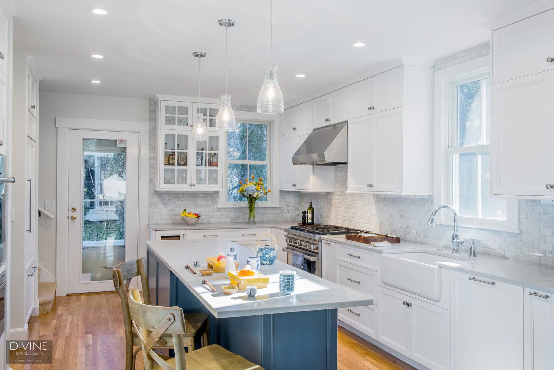 Boston Newton Transitional Kitchen Blue Gray Island Divine Design Center