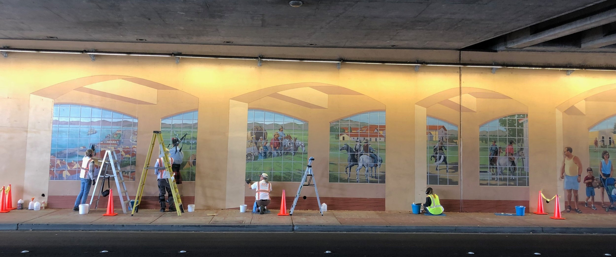 City Of Dublin - Historic Crossroad Mural - This shows our team repairing one of four murals on the walls of an underpass. A very large complex job that required a lot of coordination with the several stakeholders.