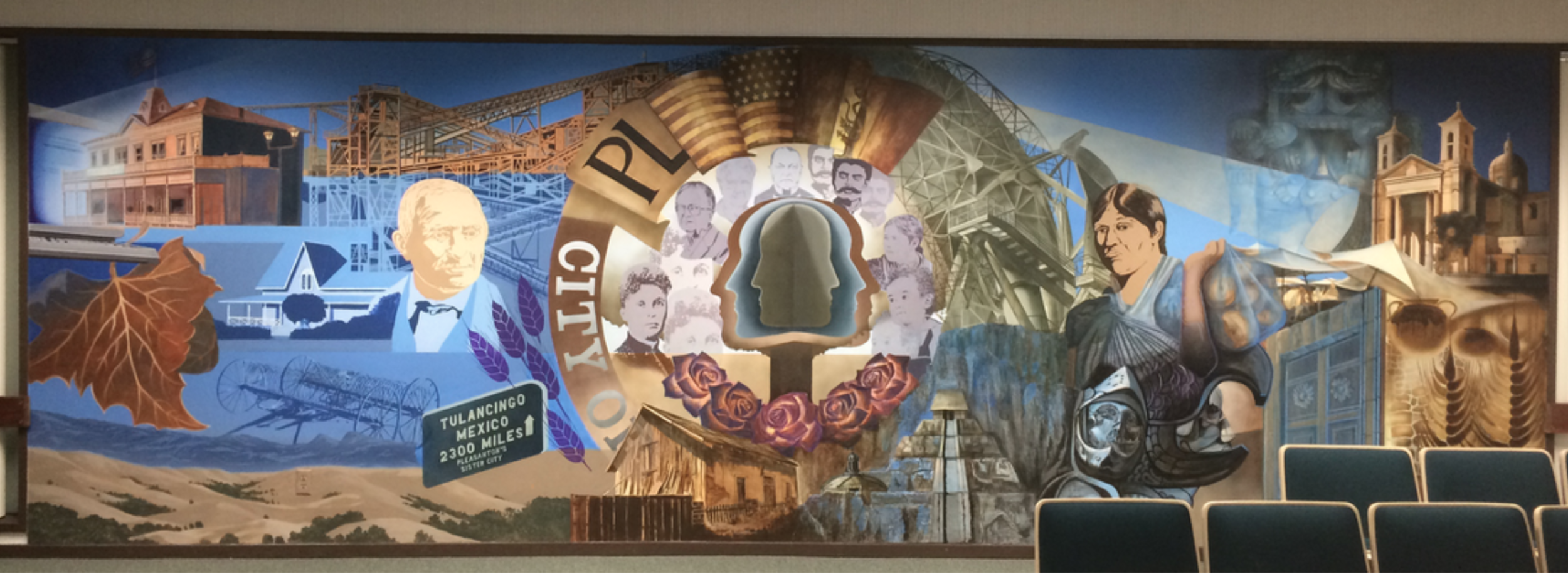 Tulancingo Mural -  1985 Augustin Vargas Velasco in Pleasanton, CA in Interior of Council Chamber - maintained 2015 - present