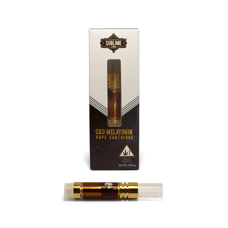"SLEEP - LET'S SLEEP TOGETHER500mg vape cartridgeEffects: Blissful, sleepy, relaxedThese cartridges contain CBD enhanced with melatonin for the ultimate sleep aid. Just inhale and relax. Nighty night.1st Place ""Best CBD Concentrate"" Emerald Cup 2018"