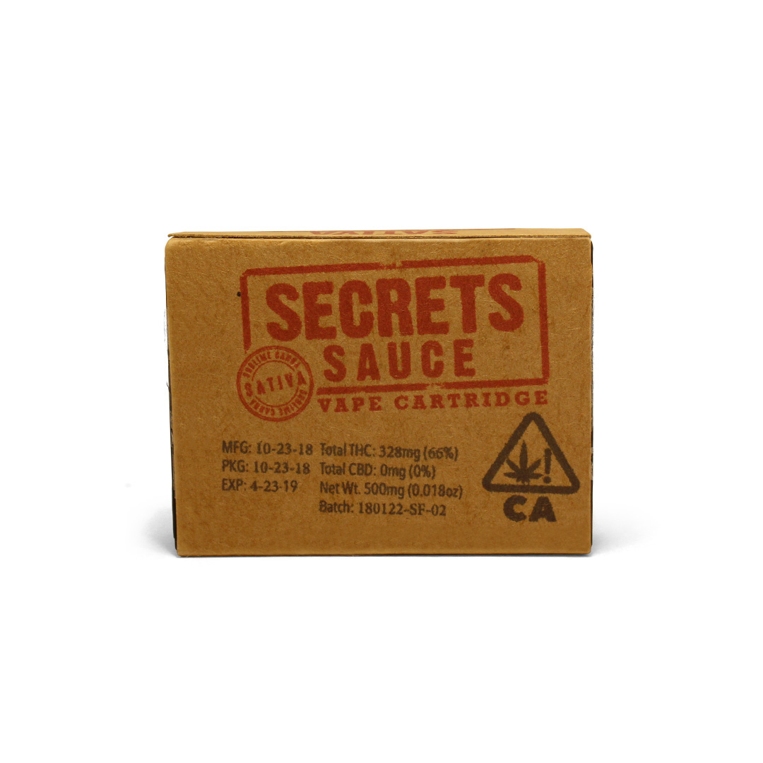 SECRETS SAUCE - Sativa500mg vape cartridgeFor revving up - perfect for active events and higher energy environments.