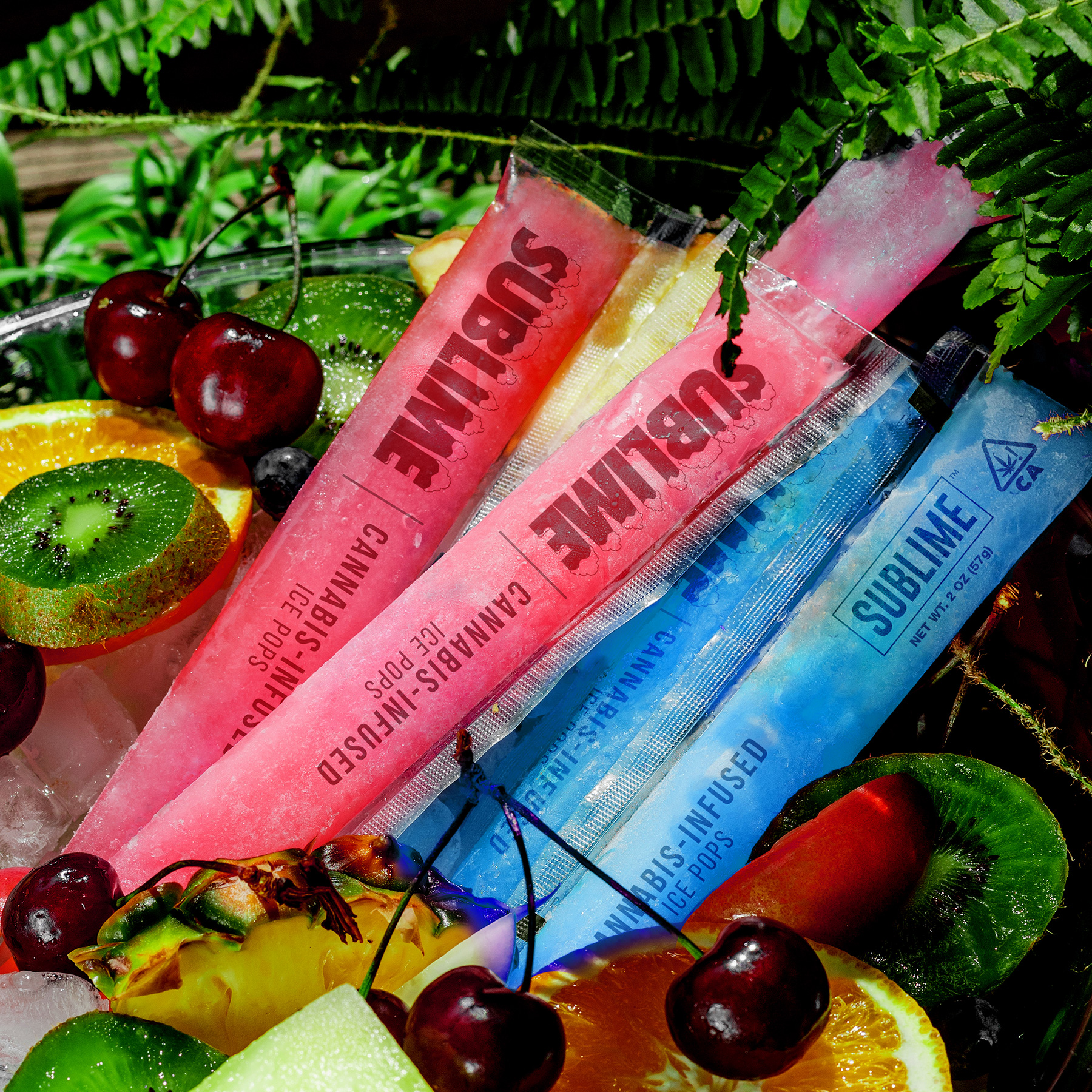 Sublime Ice Pops - CANNABIS - INFUSED ICE POPSBLUE RASPBERRY & FRUIT PUNCHAt 10mg THC per serving, they are a sweet treat for the pool, a backyard barbeque or kicking back year-round with friends. The first of their kind, Sublime Ice Pops come in two throwback flavors – Blue Raspberry and Fruit Punch. They are best enjoyed straight out of the freezer for a dose of fun anytime.
