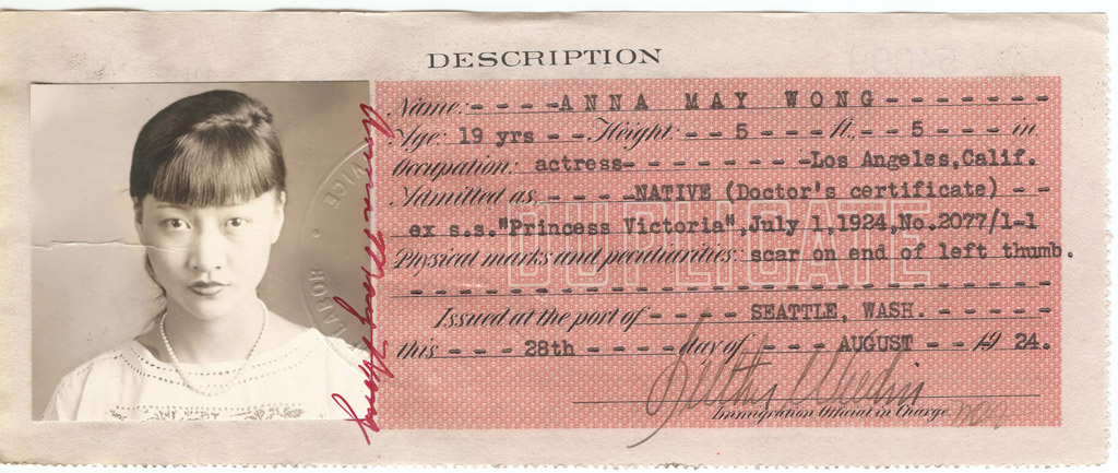 Anna May Wong – Certificate of Identity National Archives