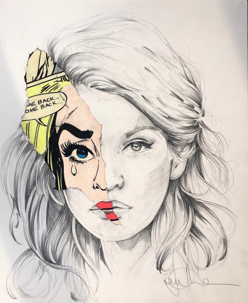 La CAge et la larme de papier pencil color and graphite on paper14X17, 2016.jpeg