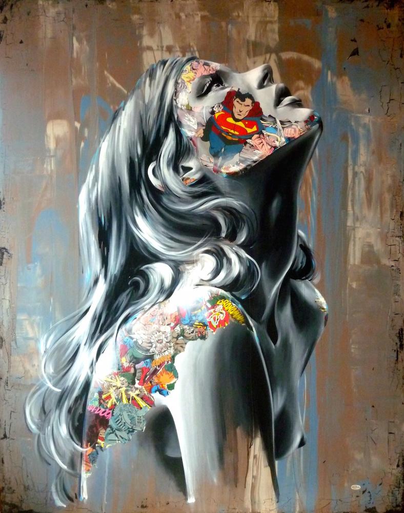 La Cage et le combat sans fin, 60X48, mix media on canvas, 2014. Sandra Chevrier.jpg