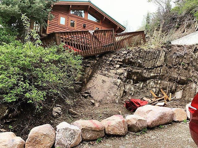 We hope winter treated your deck and home better than this.... If not, give us a call to get things back in order! . . . #blackdogpropertymanagement #blackdogbuilders #blackdogstone #homeimprovement #parkcitybuilders #deckrepair