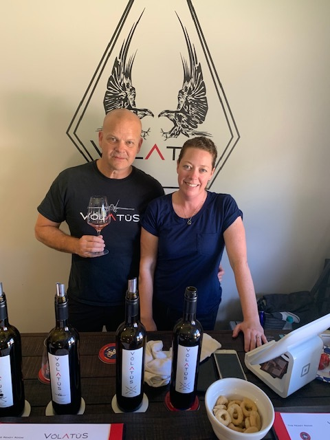 Hal and Victoria at the recently opened tasting room.