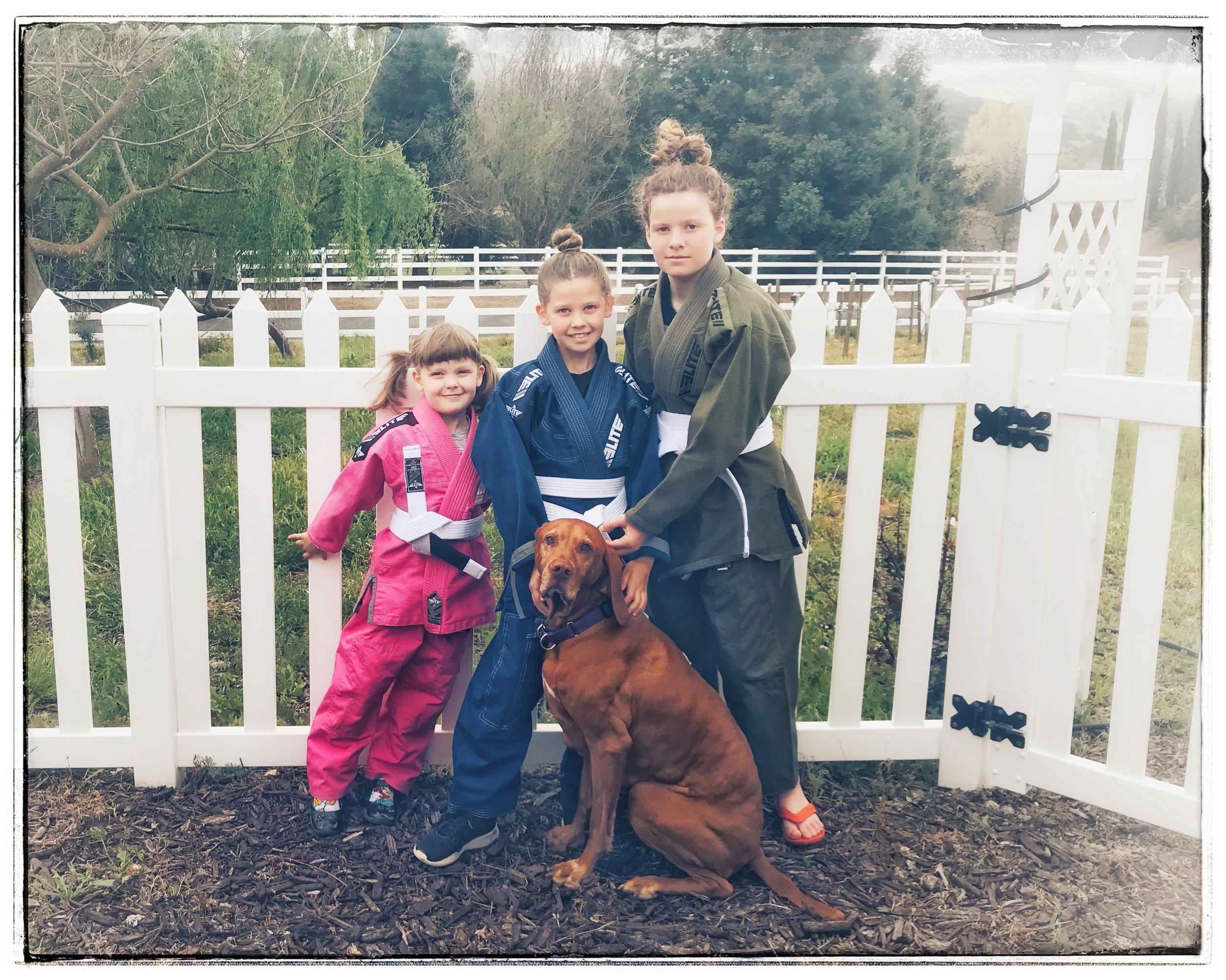 The lovely Schmitt girls with their dog, 'Tus (short for Volatus).