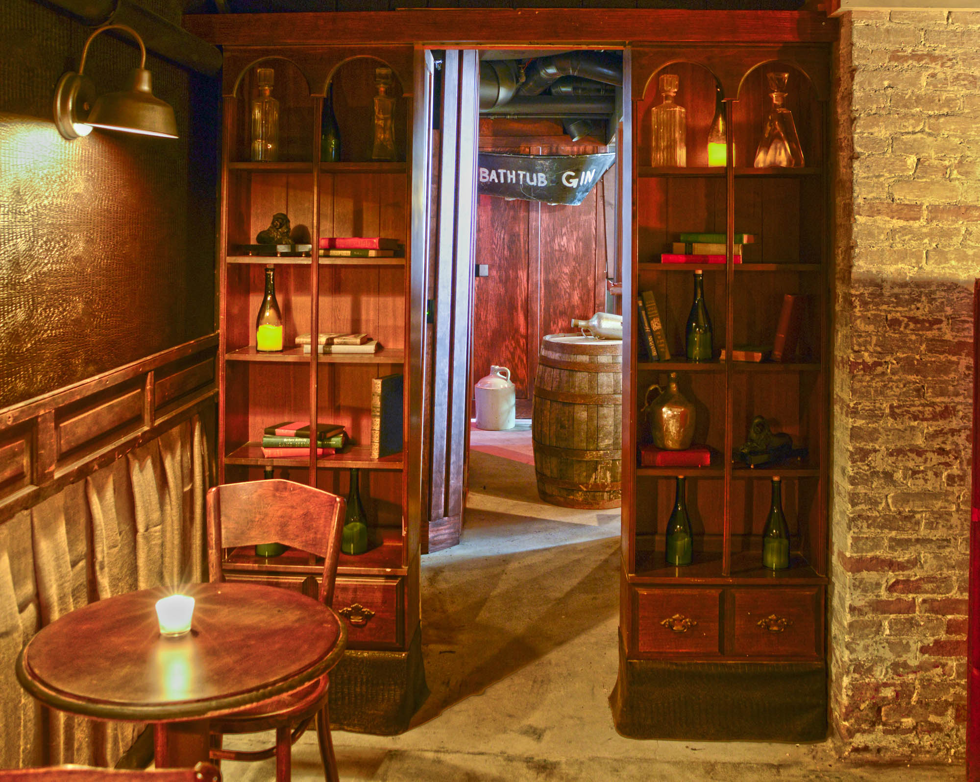 Maxwell Mansion Bar Basement Speakeasy Escape Door Through Bookcase Lake Geneva Wisconsin.jpg