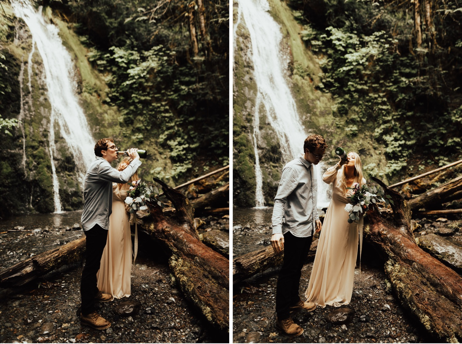 Olympic National Park Intimate Waterfall Elopement