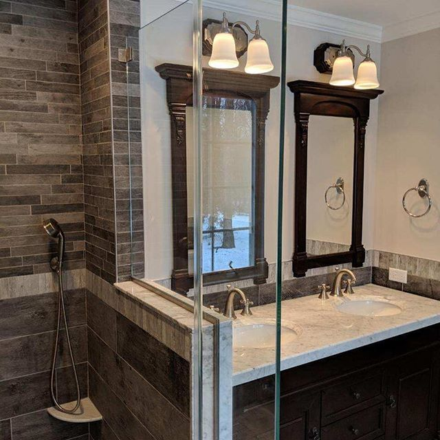 A very pretty guest bathroom recently completed in Mendham. #jacarchitect #bathroom #chiefarchitect