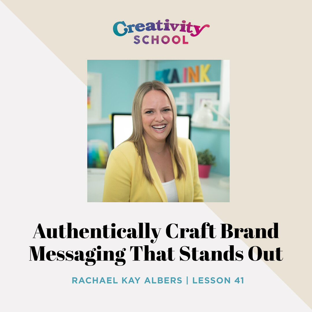 Lesson 41 - Rachael Kay Albers   How to create epic and unforgettable brand messaging for your small business (without turning people off!) with Business Comedian and Creative Director Rachael Kay Albers.   October 15th 2019