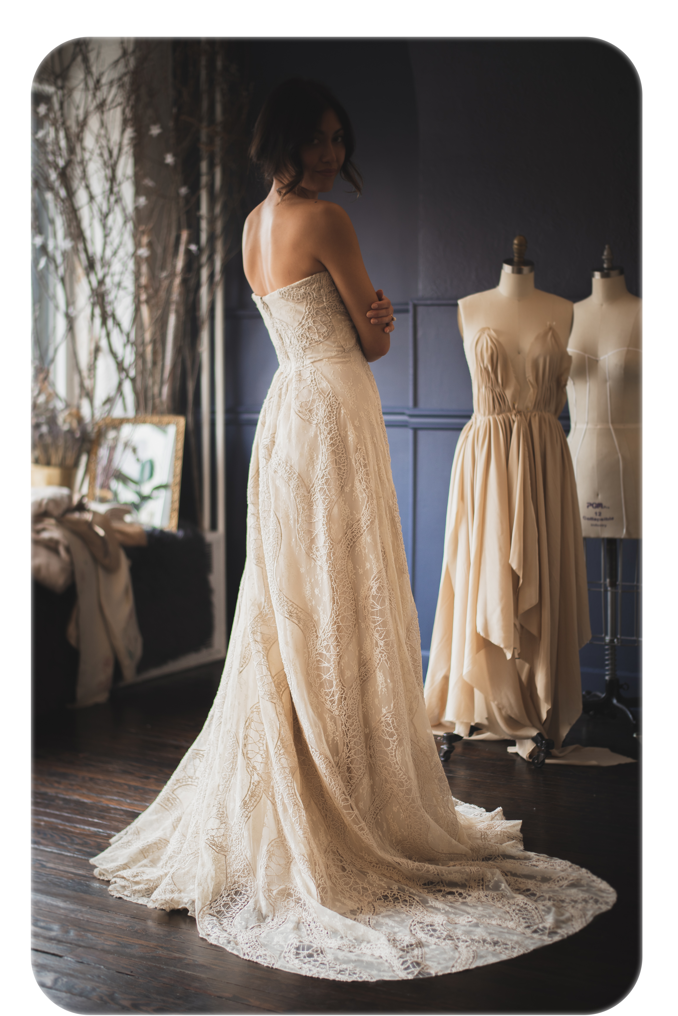 Redamancy - —noun:The act of loving the one who loves you; a love returned in fullRedamancy is a gown with a lot of heart. It's a light and airy ballgown with a twist.There are two styles available; a natural, beige lace from northern France, and a heartier, silk duchess-satin with pockets.