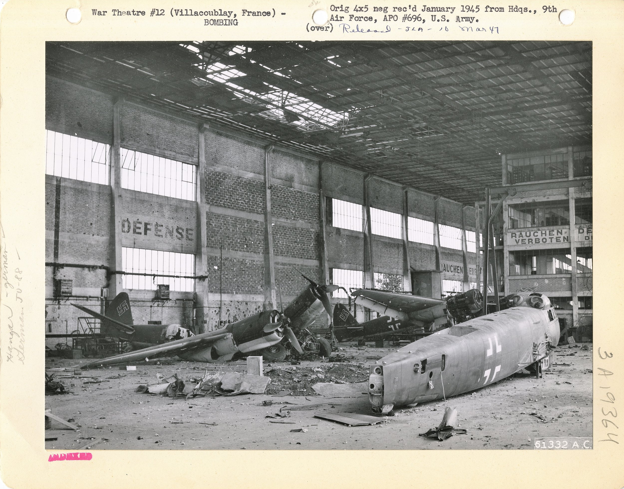 Previously cannibalized for spare parts and now bomb damaged German Junkers Ju-88 airframes at Villacoublay (France) after heavy U.S. bombing. HQ, 9th Air Force.