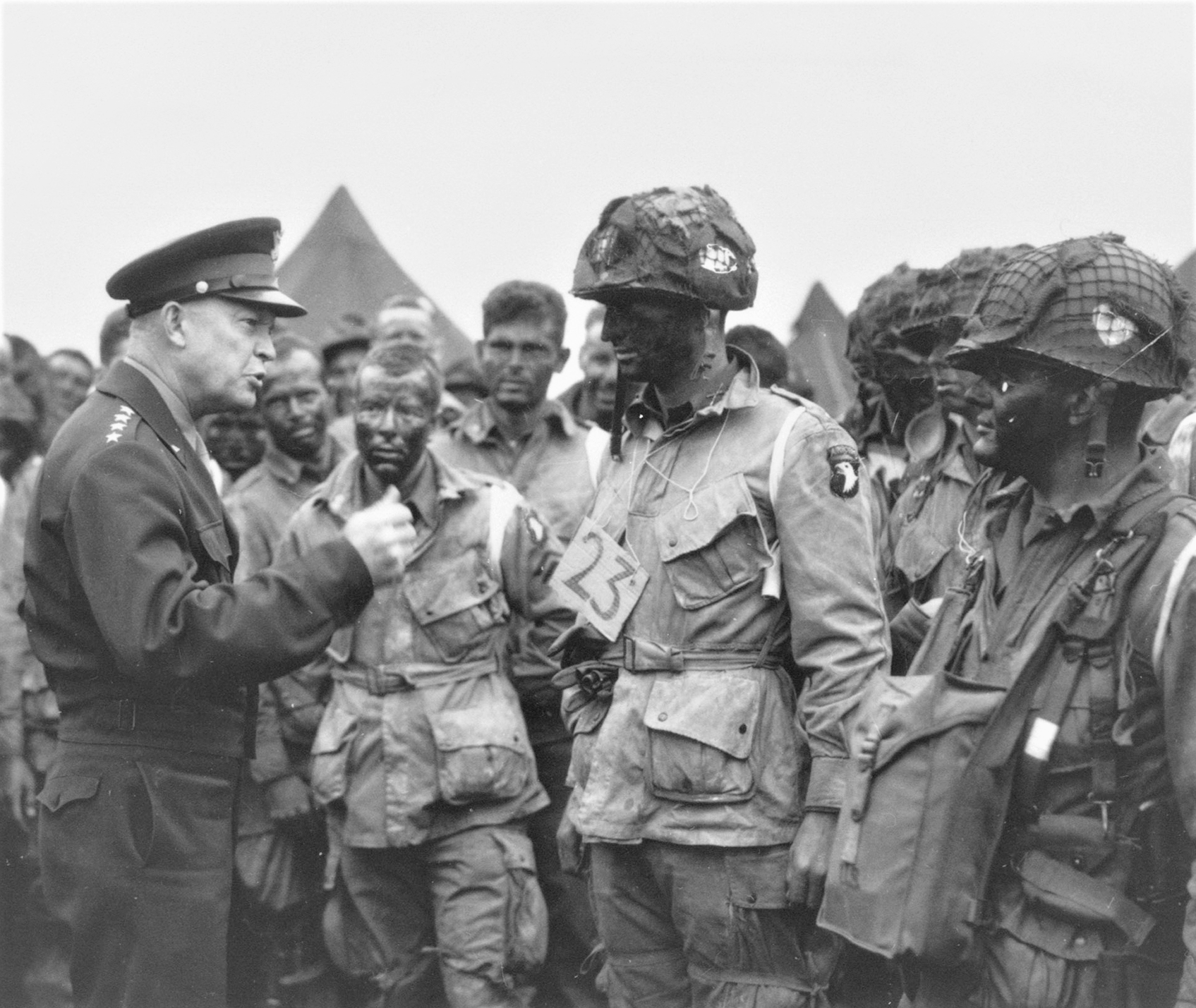"General Dwight D. Eisenhower addresses the men of the 101st Airborne prior to the invasion of Normandy on D-Day, June 6, 1944: ""I have full confidence in your courage, devotion to duty and skill in battle. We will accept nothing less than full Victory! Good Luck! And let us all beseech the blessing of Almighty God upon this great and noble undertaking!"""