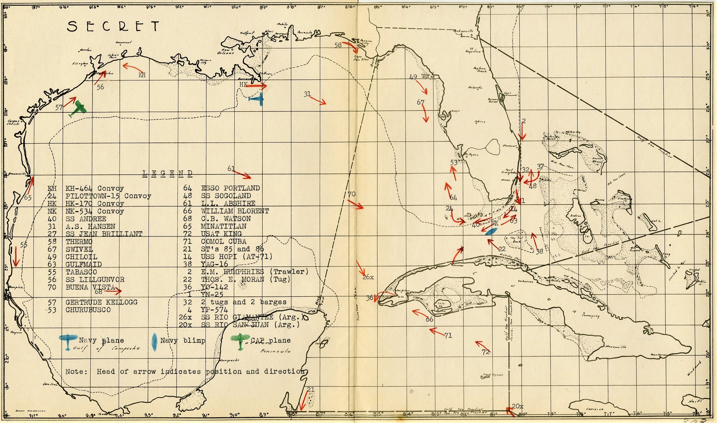 Office of the CNO vessel plot showing locations of merchant and naval vessels and deployed anti-submarine countermeasures in the Gulf of Mexico and Caribbean. (RG38)