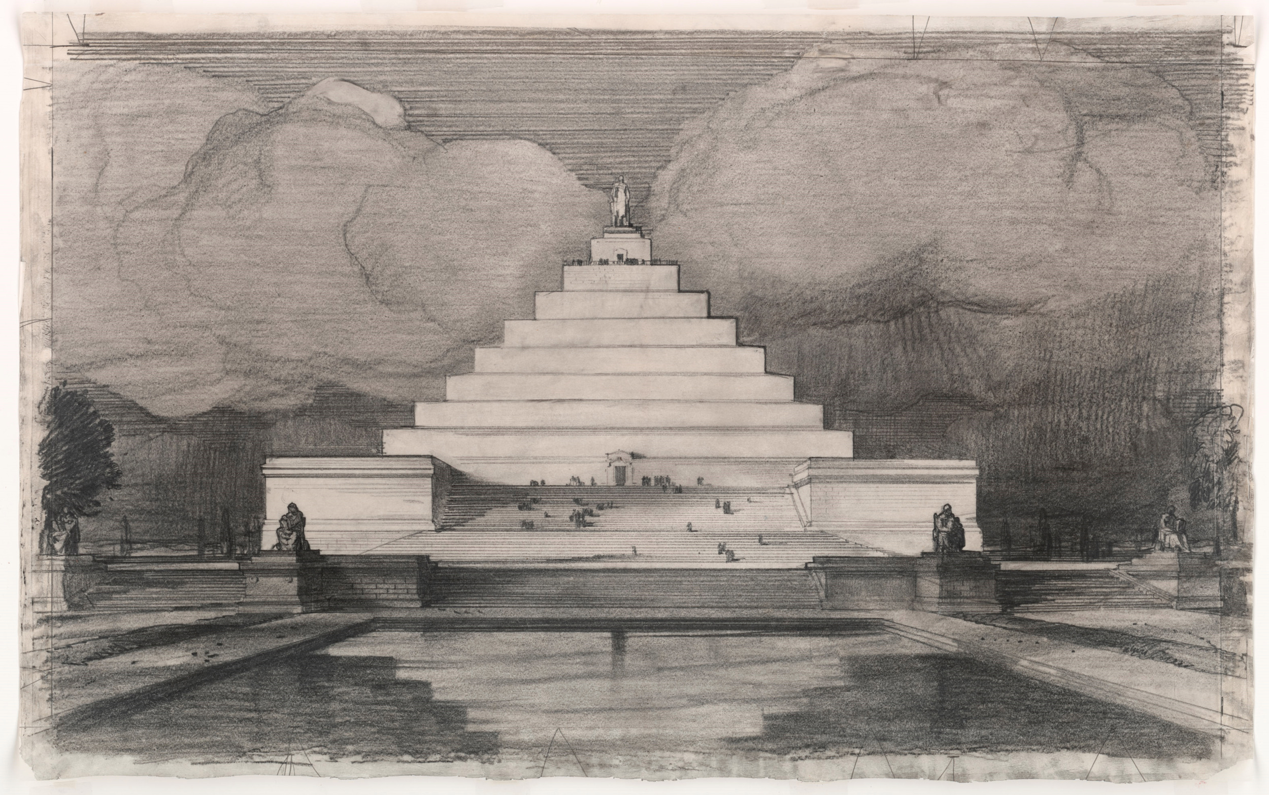 Famed American architect John Russell Pope submitted this design in the competition for a Lincoln Memorial. He envisioned it sited on Meridian Hill in Washington, D.C.