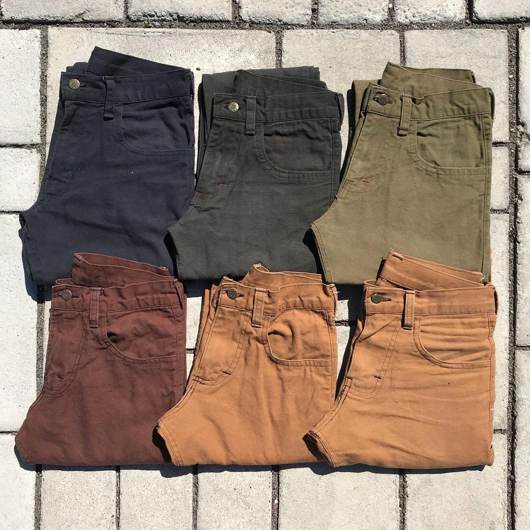 Work Pants   cotton, button, dye  custom size, 2017