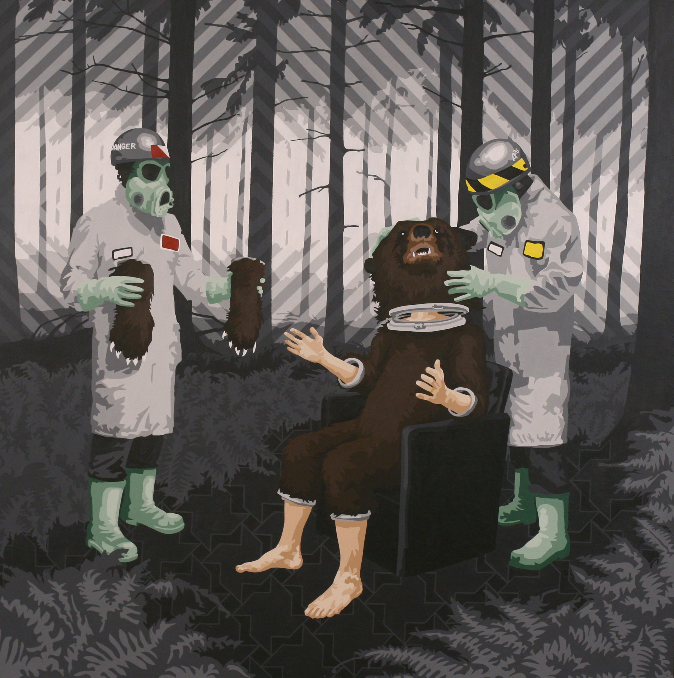 "These Bears are Liars   Acrylic on hardboard panel  48"" x 48"" 2009"