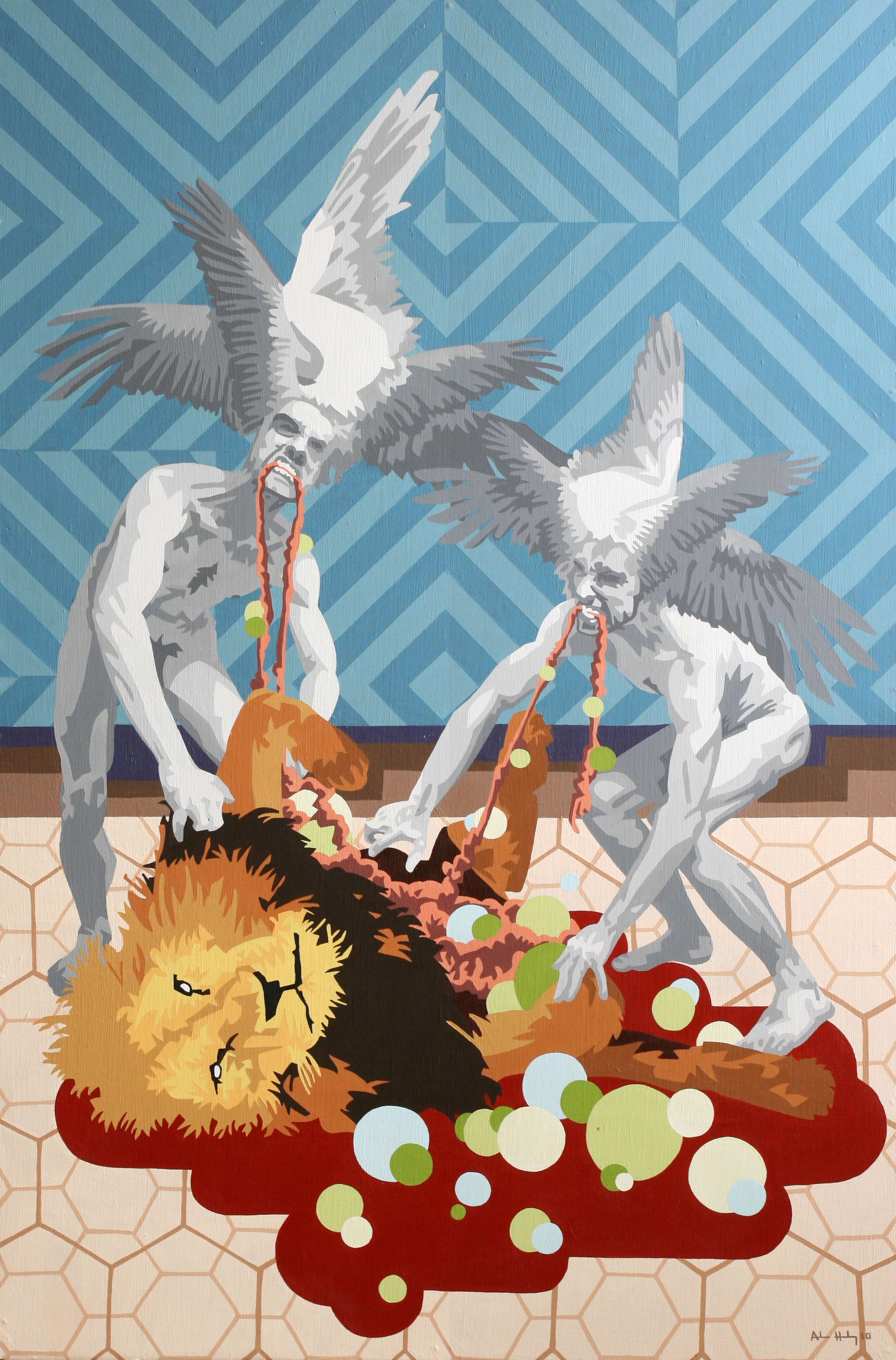 "We Ate Lion   Acrylic on hardboard panel  36"" x 24"" 2010"