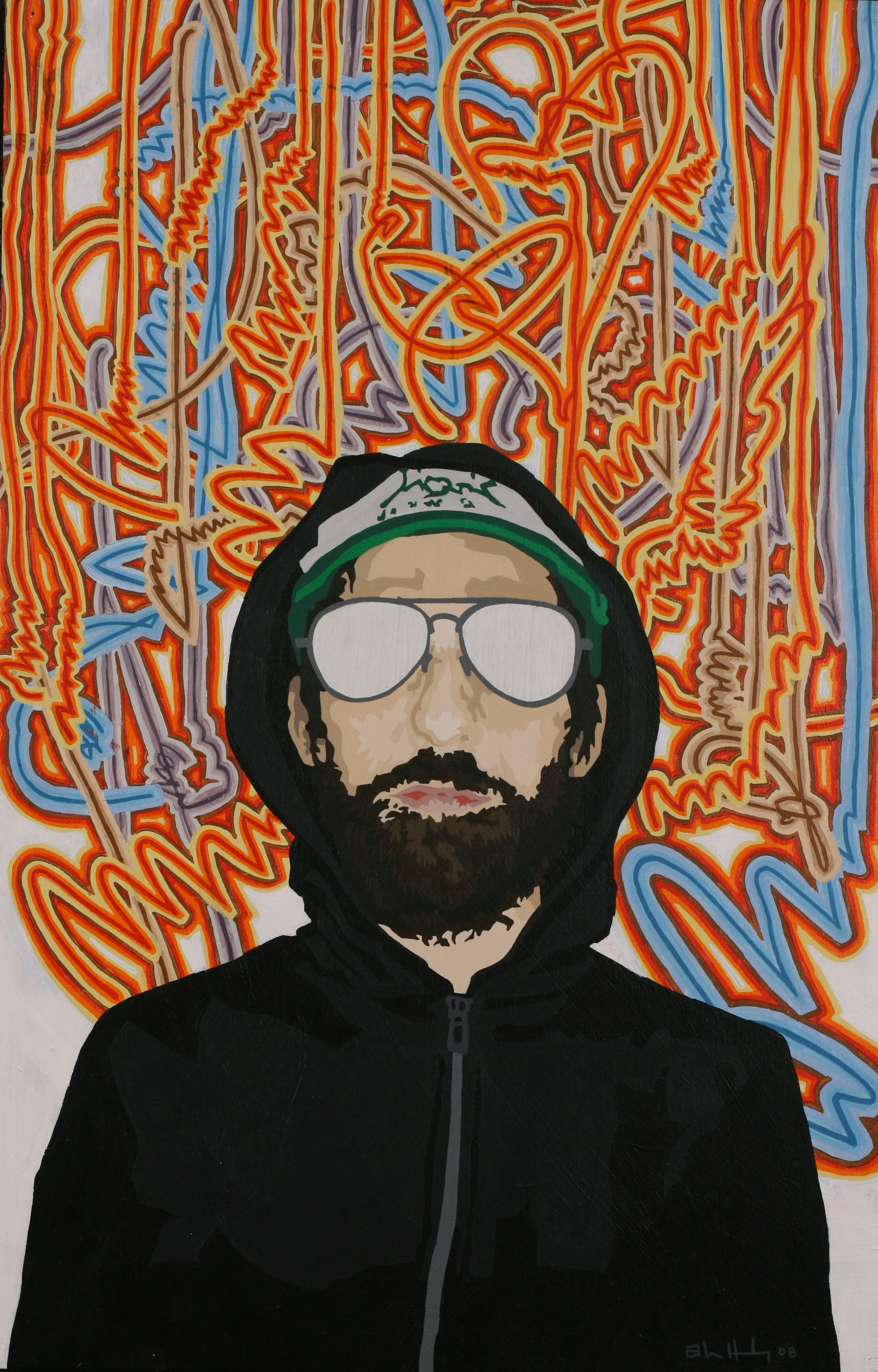 "Unabomber with Bees   Acrylic on hardboard panel  28"" x 18"" 2008"