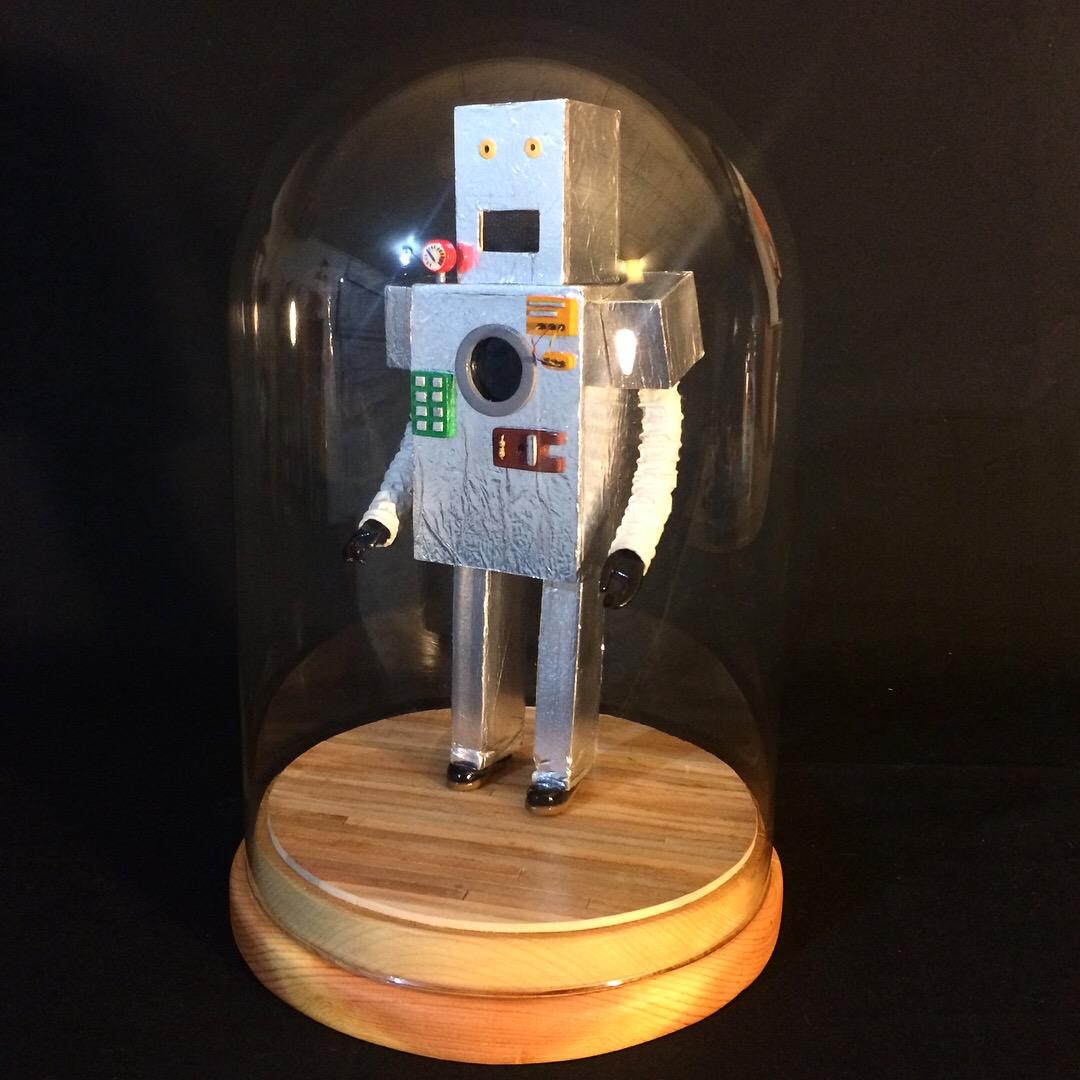 Robot Costume   wood, aluminum foil, wire, fabric, Papier-mâché, paint, Christmas tree lights  2017