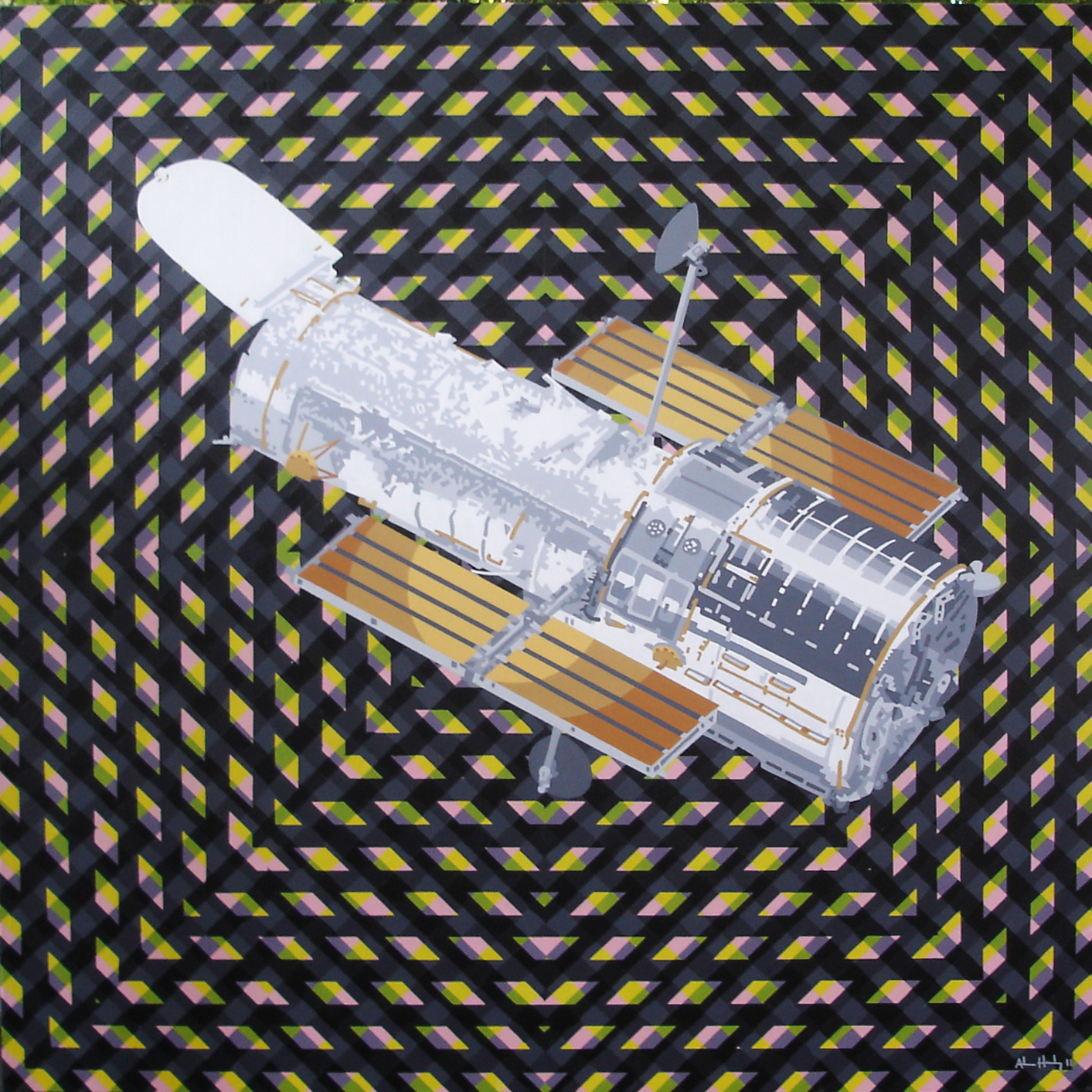 """They Worship the Hubble Space Telescope""   Acrylic on hardboard panel  36"" x 36"" 2011"