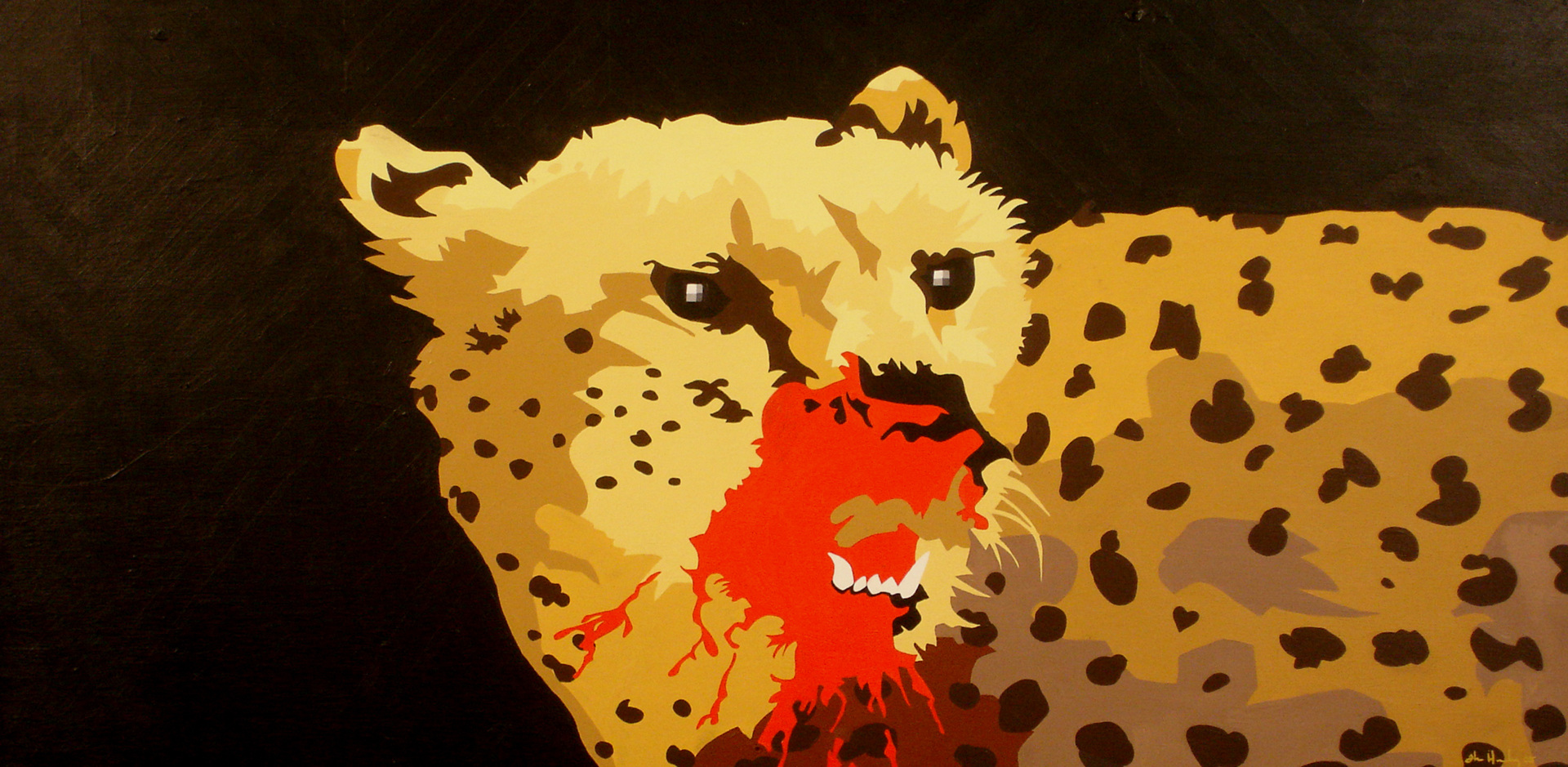 "Cheetah   Acrylic on hardboard panel  24"" x 36"" 2005"